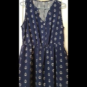 Hot Topic Navy Blue Skater Dress Anchor Print